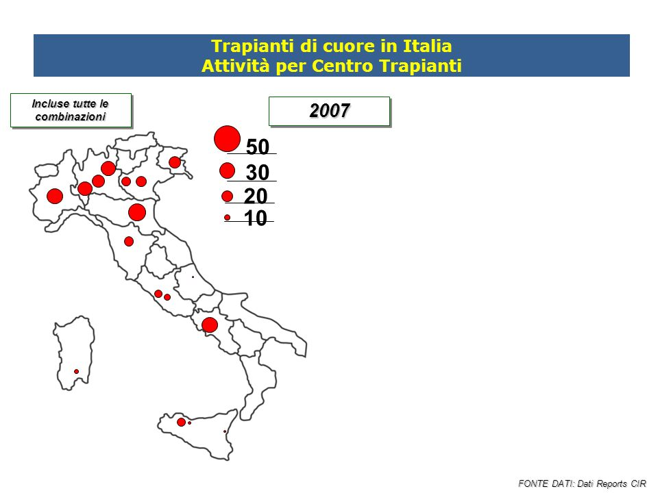 50 30 20 10 2007 Trapianti di cuore in Italia