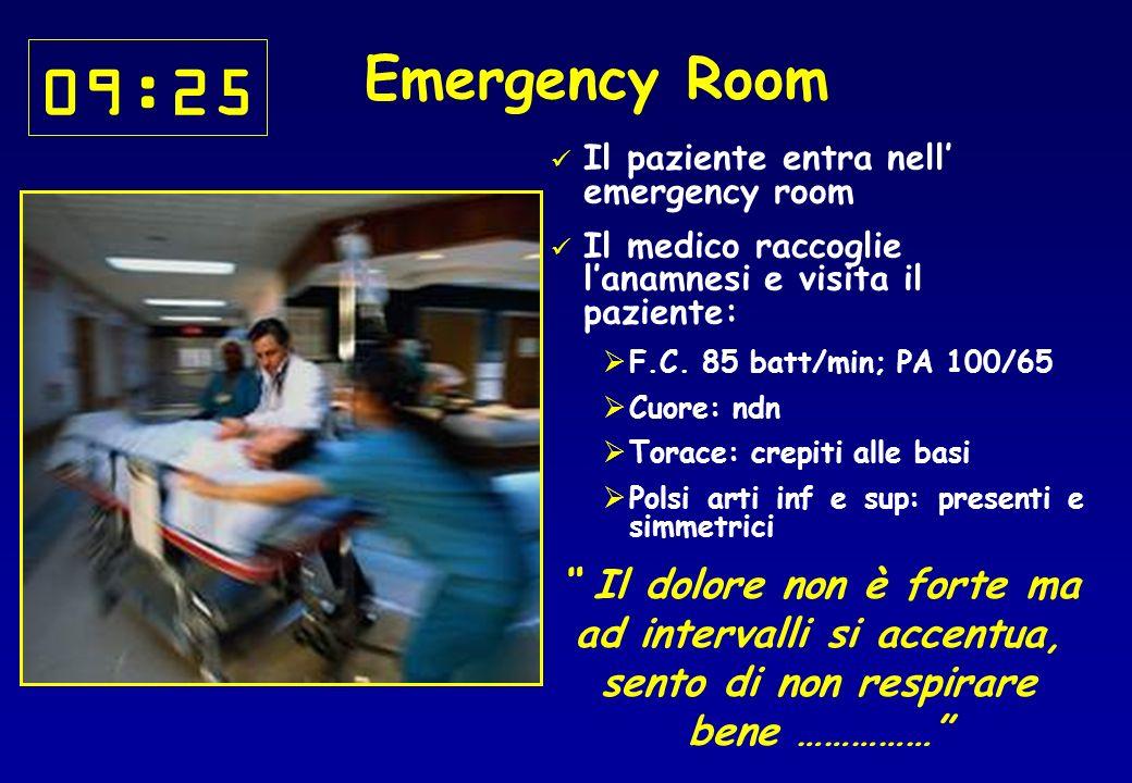 09:25 Emergency Room. Il paziente entra nell' emergency room. Il medico raccoglie l'anamnesi e visita il paziente: