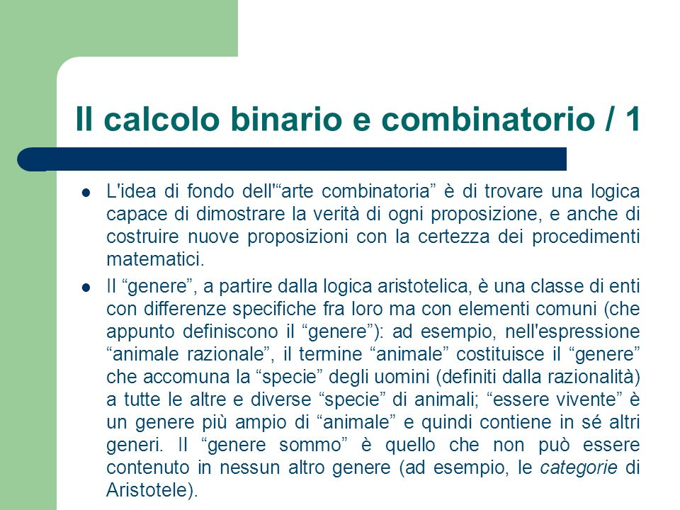 Il calcolo binario e combinatorio / 1