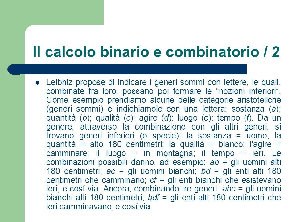 Il calcolo binario e combinatorio / 2