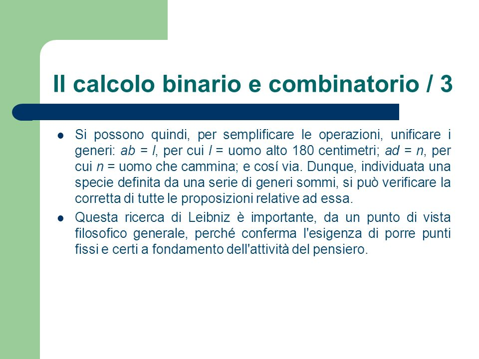 Il calcolo binario e combinatorio / 3