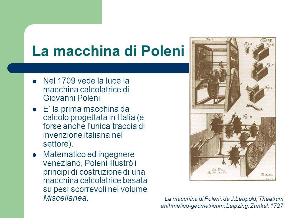La macchina di Poleni Nel 1709 vede la luce la macchina calcolatrice di Giovanni Poleni.