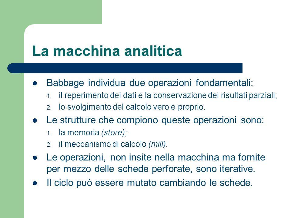 La macchina analitica Babbage individua due operazioni fondamentali: