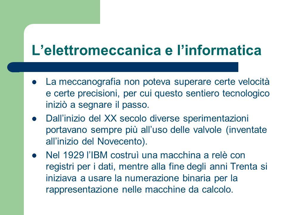 L'elettromeccanica e l'informatica