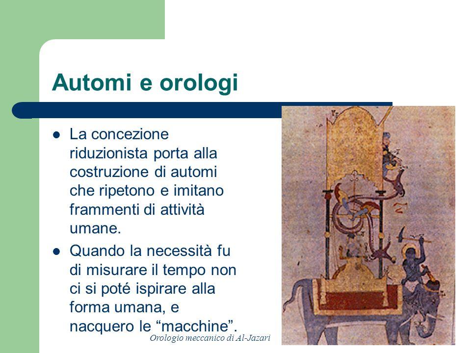 Automi e orologi La concezione riduzionista porta alla costruzione di automi che ripetono e imitano frammenti di attività umane.