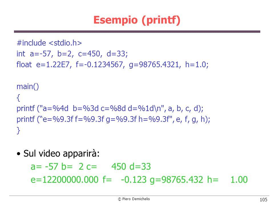 Esempio (printf) Sul video apparirà: a= -57 b= 2 c= 450 d=33
