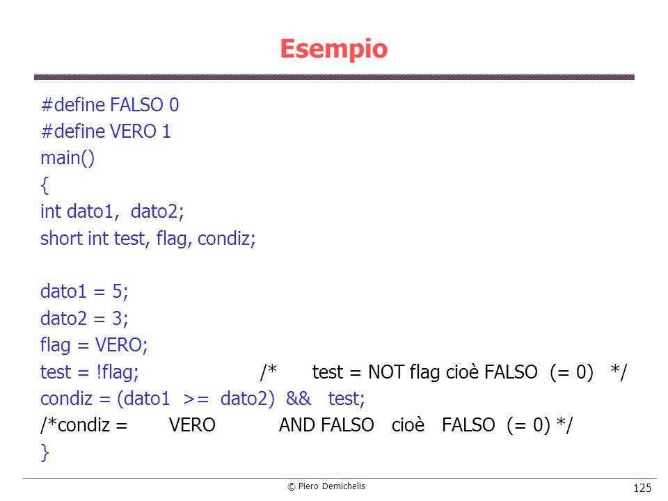 Esempio #define FALSO 0 #define VERO 1 main() { int dato1, dato2;