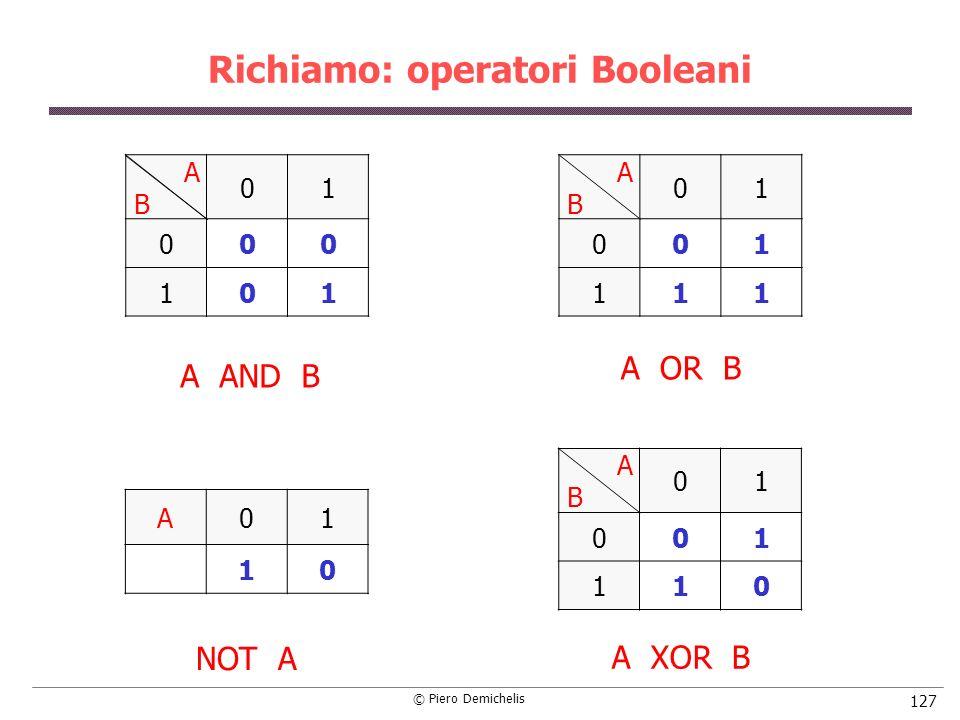 Richiamo: operatori Booleani