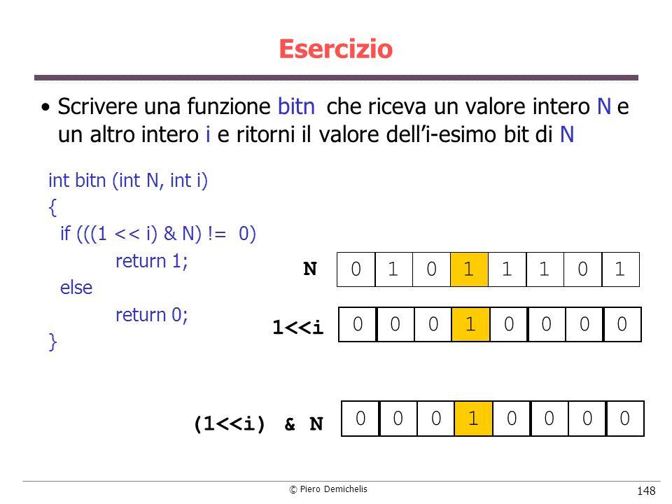 Esercizio Scrivere una funzione bitn che riceva un valore intero N e un altro intero i e ritorni il valore dell'i-esimo bit di N.