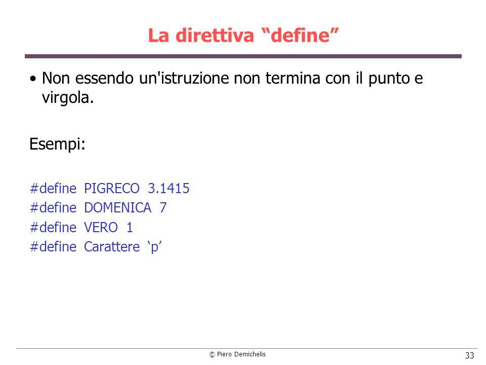 La direttiva define Non essendo un istruzione non termina con il punto e virgola. Esempi: #define PIGRECO 3.1415.