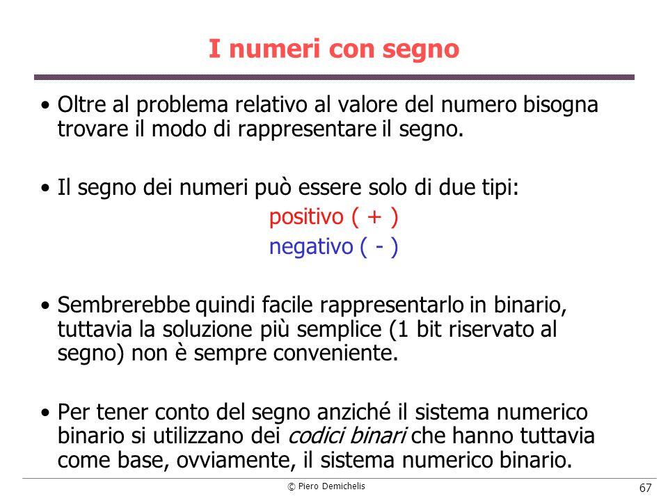 I numeri con segno Oltre al problema relativo al valore del numero bisogna trovare il modo di rappresentare il segno.