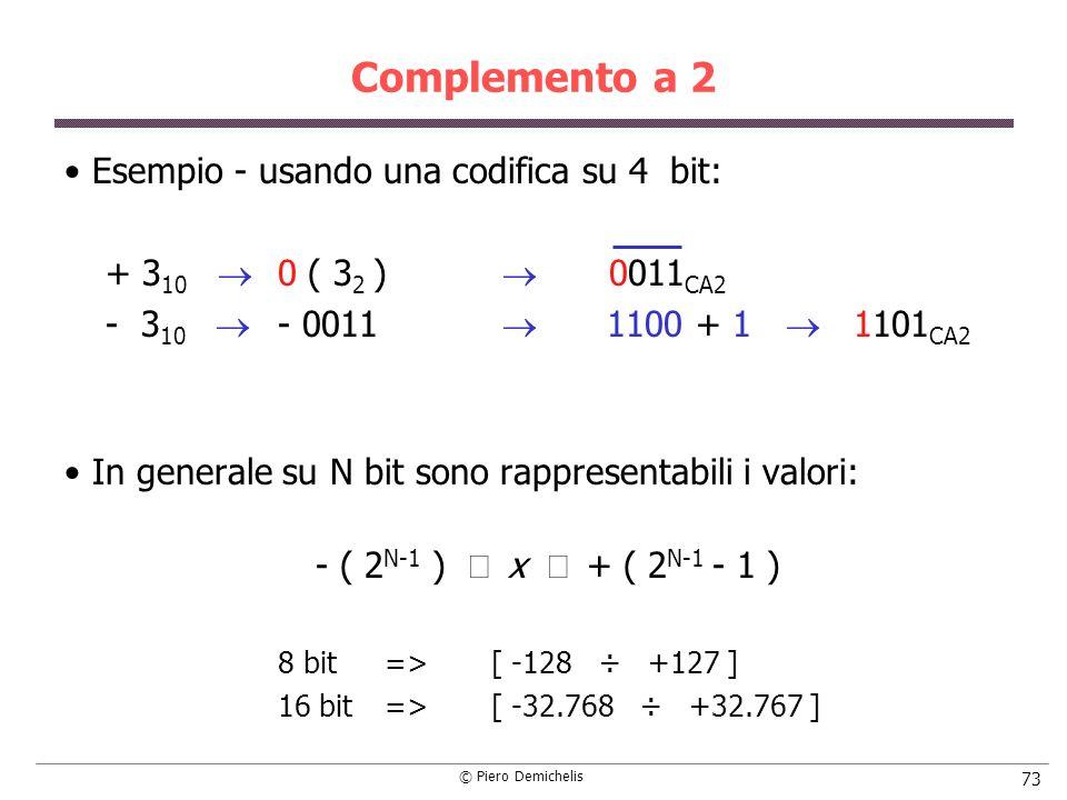 Complemento a 2 Esempio - usando una codifica su 4 bit: