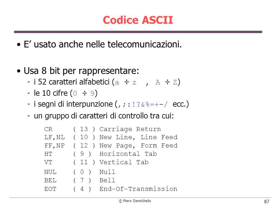 Codice ASCII E' usato anche nelle telecomunicazioni.