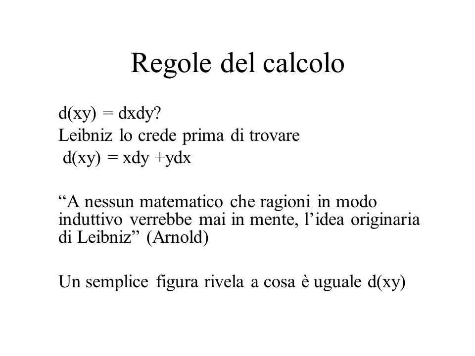 Regole del calcolo d(xy) = dxdy Leibniz lo crede prima di trovare