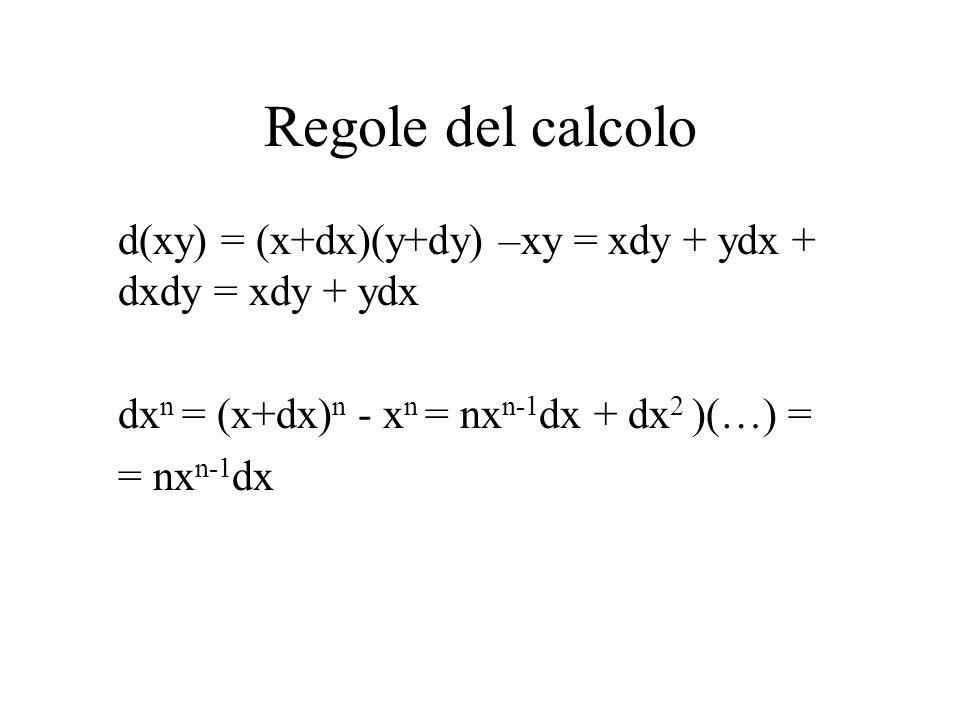 Regole del calcolo d(xy) = (x+dx)(y+dy) –xy = xdy + ydx + dxdy = xdy + ydx. dxn = (x+dx)n - xn = nxn-1dx + dx2 )(…) =