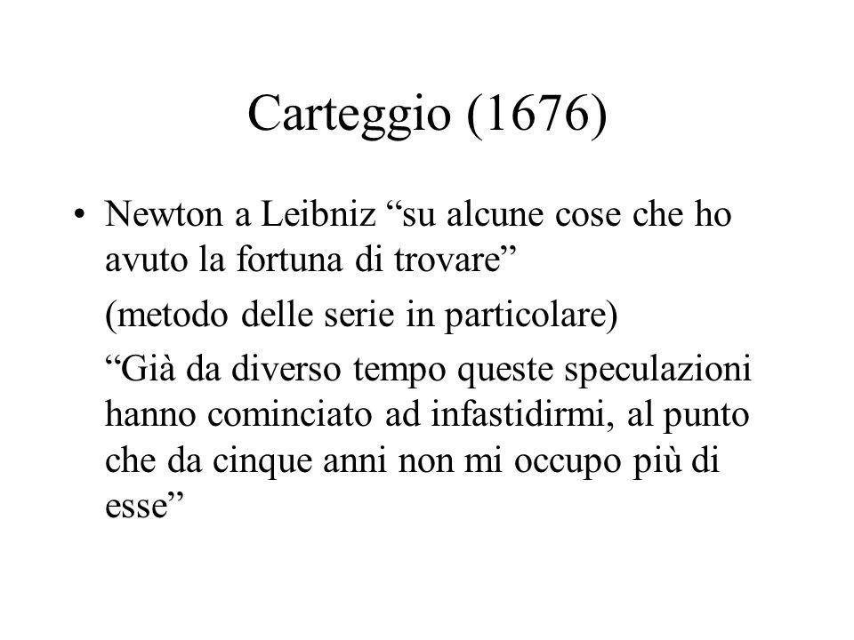 Carteggio (1676) Newton a Leibniz su alcune cose che ho avuto la fortuna di trovare (metodo delle serie in particolare)