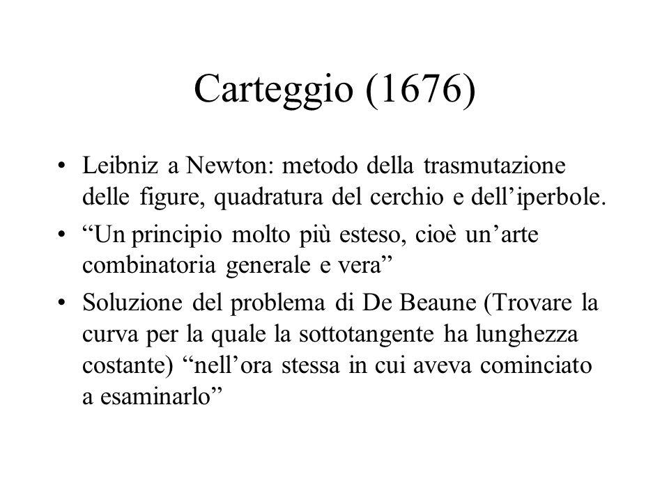 Carteggio (1676) Leibniz a Newton: metodo della trasmutazione delle figure, quadratura del cerchio e dell'iperbole.