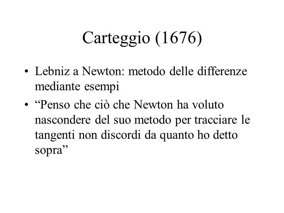 Carteggio (1676) Lebniz a Newton: metodo delle differenze mediante esempi.