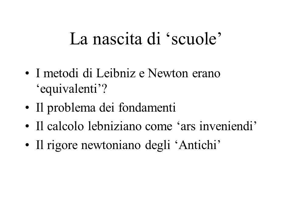 La nascita di 'scuole' I metodi di Leibniz e Newton erano 'equivalenti' Il problema dei fondamenti.