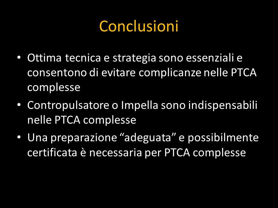Conclusioni Ottima tecnica e strategia sono essenziali e consentono di evitare complicanze nelle PTCA complesse.