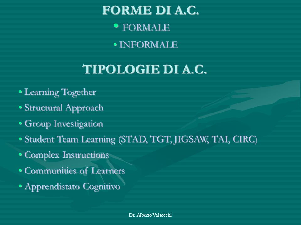FORMALE FORME DI A.C. TIPOLOGIE DI A.C. INFORMALE Learning Together