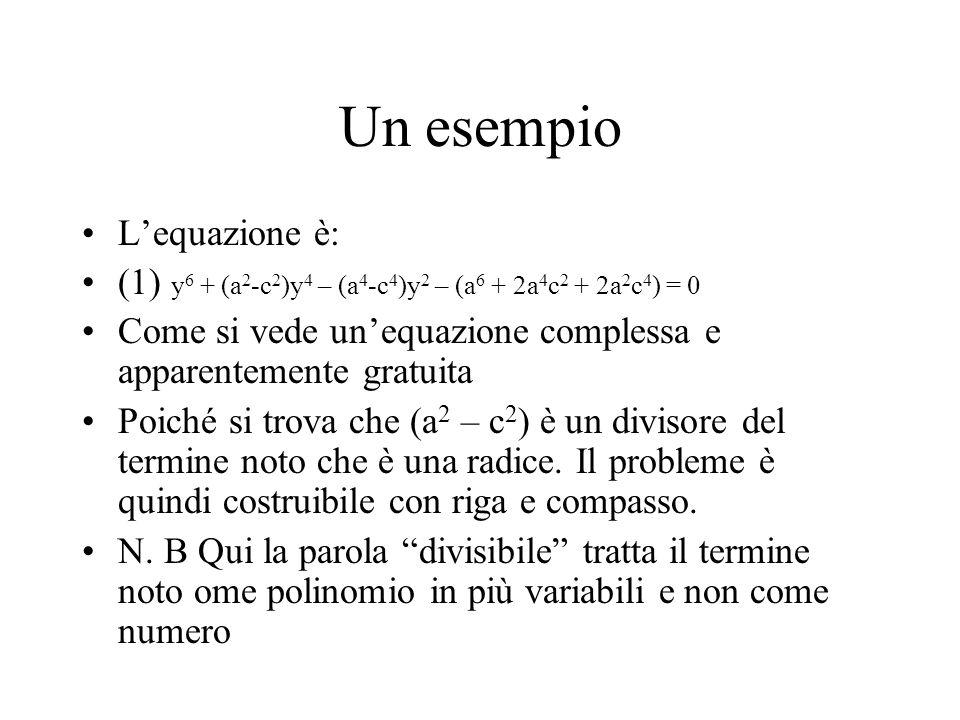 Un esempio L'equazione è: