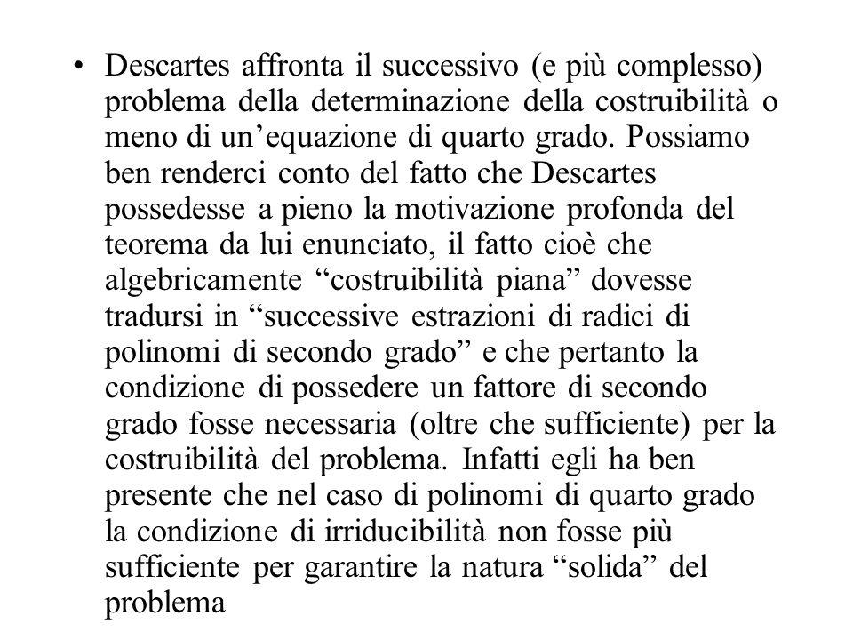 Descartes affronta il successivo (e più complesso) problema della determinazione della costruibilità o meno di un'equazione di quarto grado.