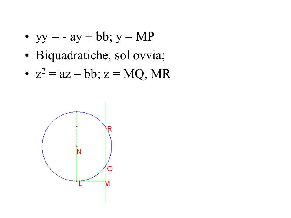 yy = - ay + bb; y = MP Biquadratiche, sol ovvia; z2 = az – bb; z = MQ, MR