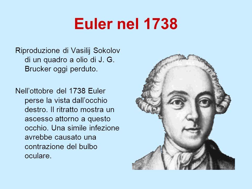 Euler nel 1738 Riproduzione di Vasilij Sokolov di un quadro a olio di J. G. Brucker oggi perduto.