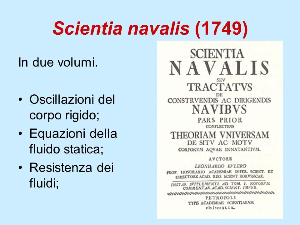 Scientia navalis (1749) In due volumi. Oscillazioni del corpo rigido;