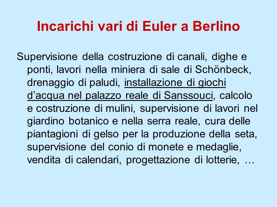 Incarichi vari di Euler a Berlino