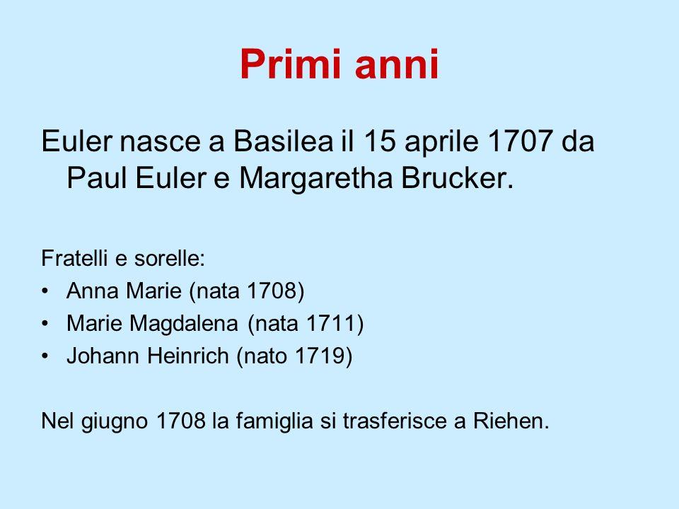 Primi anniEuler nasce a Basilea il 15 aprile 1707 da Paul Euler e Margaretha Brucker. Fratelli e sorelle: