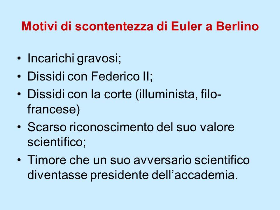 Motivi di scontentezza di Euler a Berlino