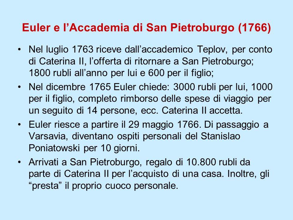 Euler e l'Accademia di San Pietroburgo (1766)