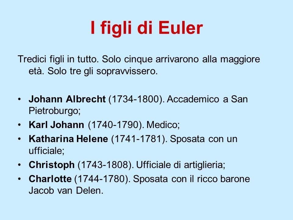 I figli di EulerTredici figli in tutto. Solo cinque arrivarono alla maggiore età. Solo tre gli sopravvissero.