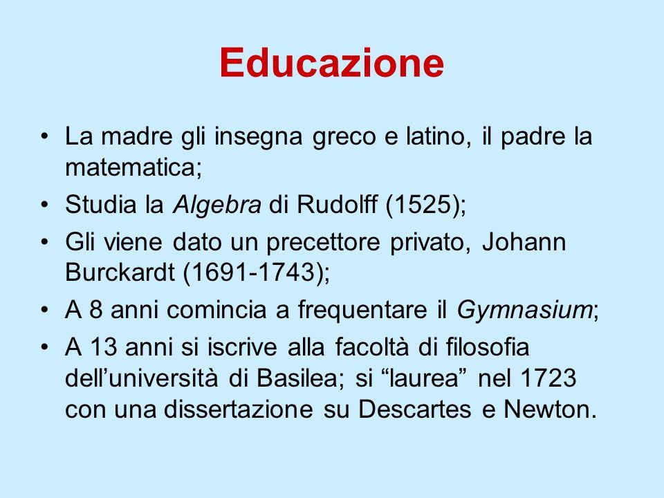 Educazione La madre gli insegna greco e latino, il padre la matematica; Studia la Algebra di Rudolff (1525);
