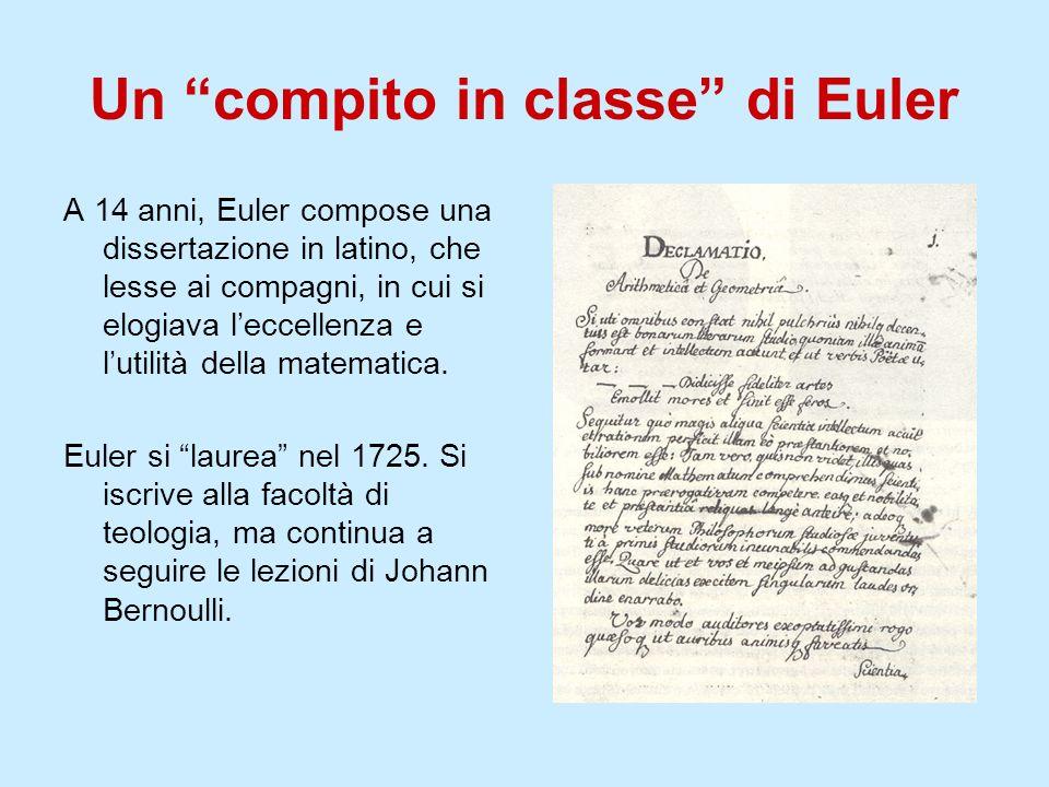 Un compito in classe di Euler