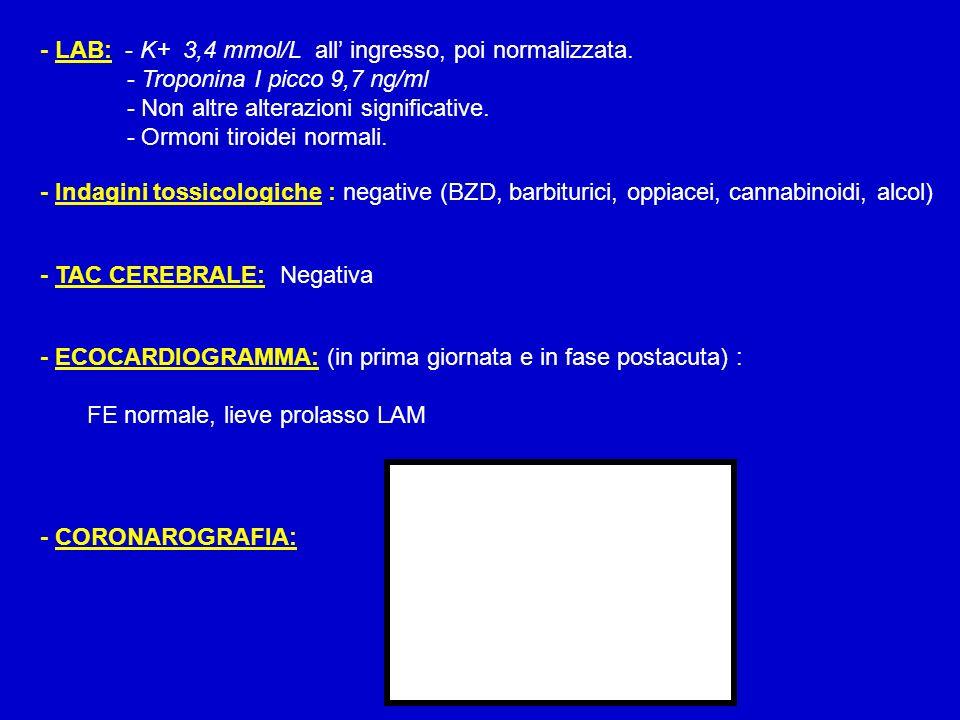- LAB: - K+ 3,4 mmol/L all' ingresso, poi normalizzata.
