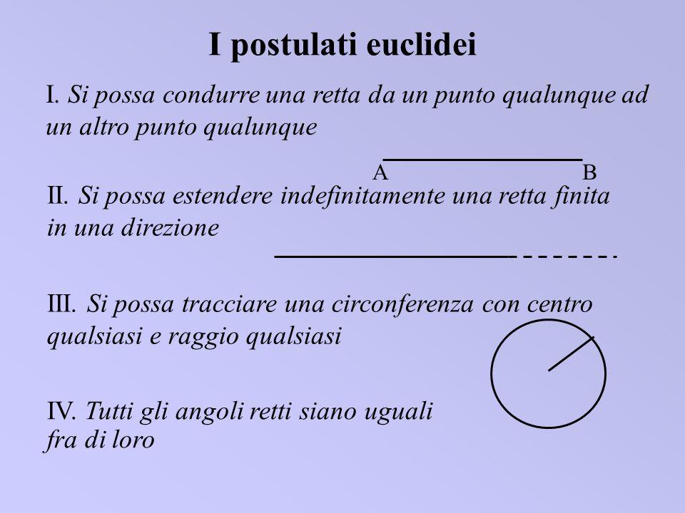 I postulati euclideiI. Si possa condurre una retta da un punto qualunque ad un altro punto qualunque.
