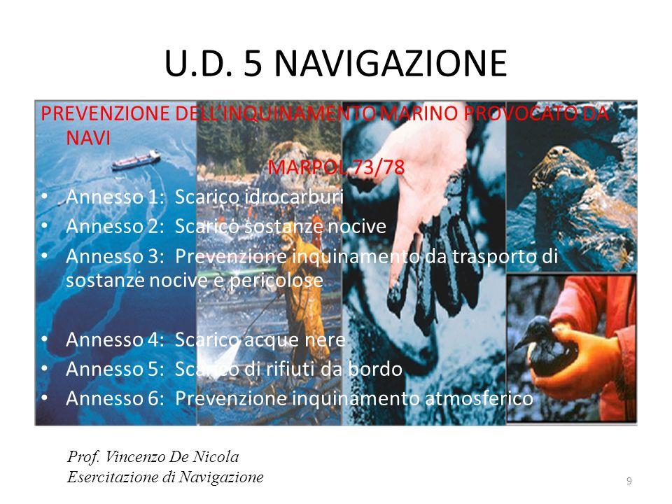 U.D. 5 NAVIGAZIONE PREVENZIONE DELL'INQUINAMENTO MARINO PROVOCATO DA NAVI. MARPOL 73/78. Annesso 1: Scarico idrocarburi.