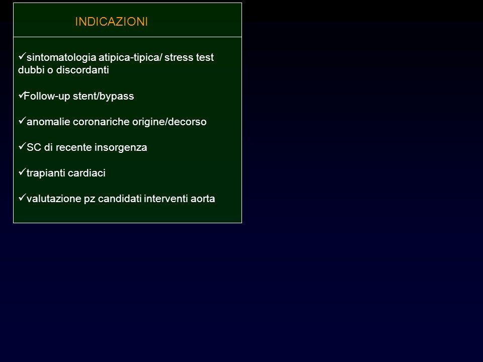 INDICAZIONI sintomatologia atipica-tipica/ stress test dubbi o discordanti. Follow-up stent/bypass.
