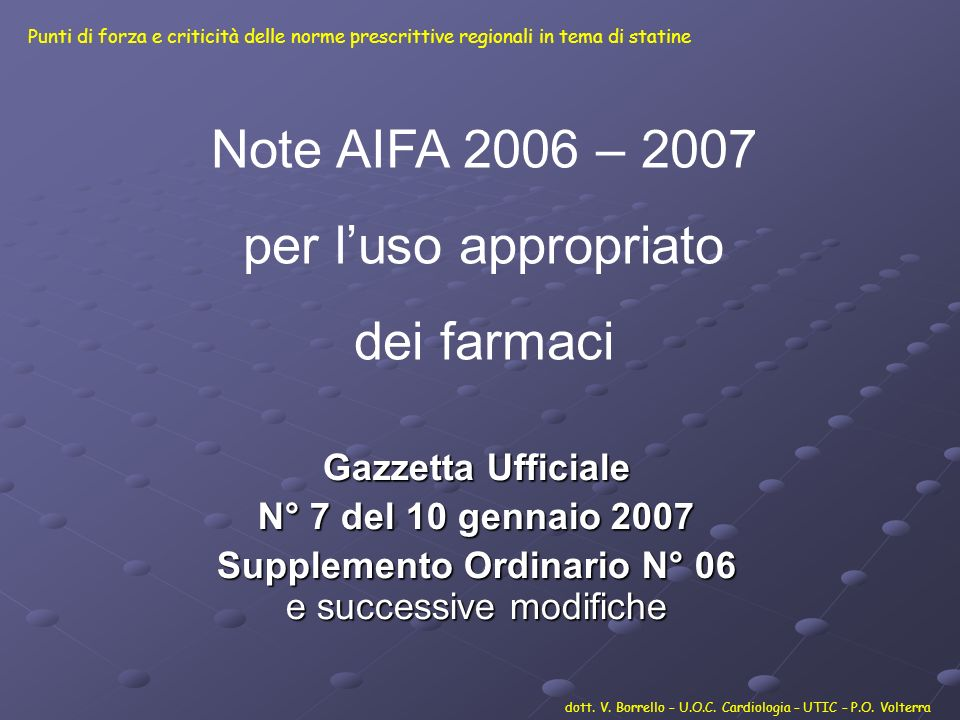 Supplemento Ordinario N° 06 e successive modifiche