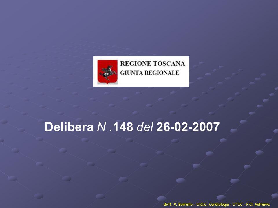 Delibera N .148 del 26-02-2007 dott. V. Borrello – U.O.C. Cardiologia – UTIC – P.O. Volterra