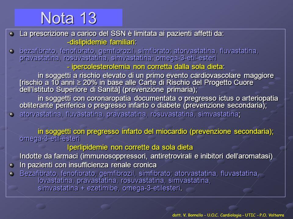 Nota 13 La prescrizione a carico del SSN è limitata ai pazienti affetti da: -dislipidemie familiari:
