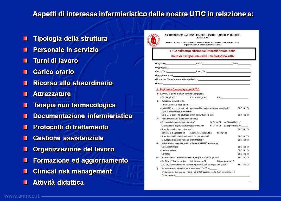 Aspetti di interesse infermieristico delle nostre UTIC in relazione a: