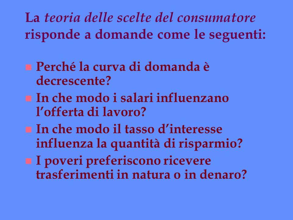 La teoria delle scelte del consumatore risponde a domande come le seguenti: