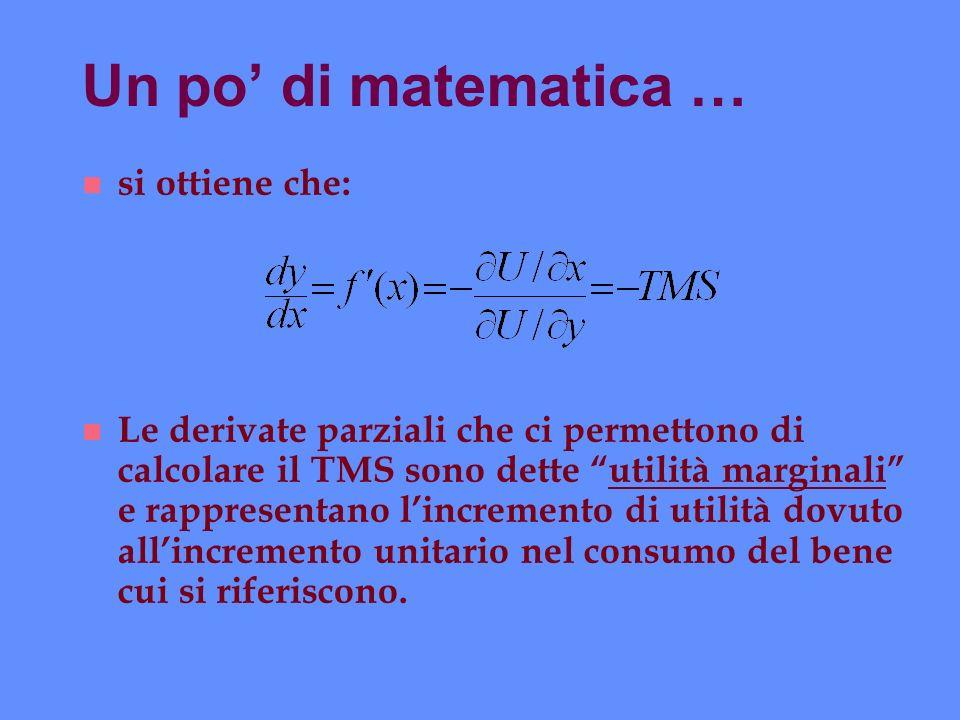 Un po' di matematica … si ottiene che: