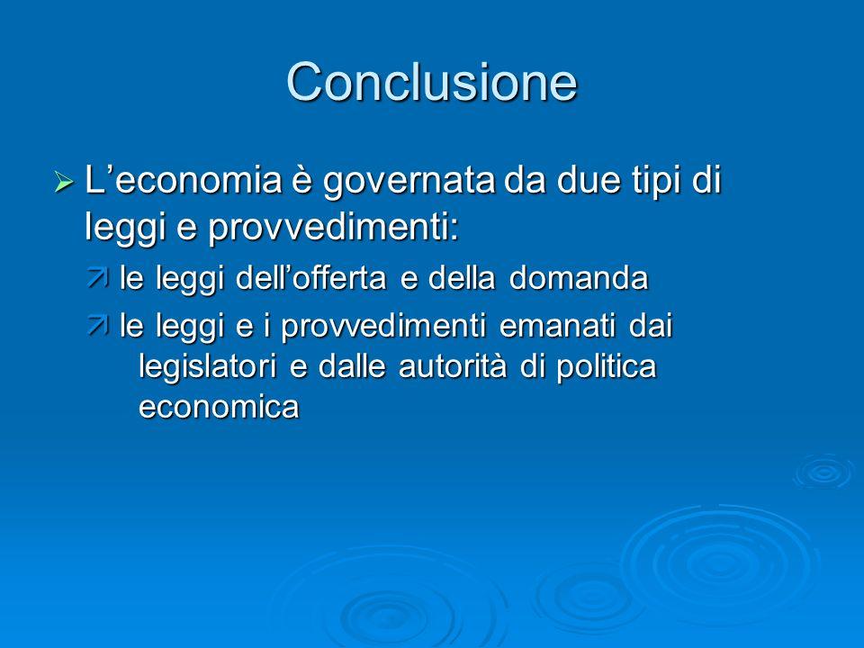 Conclusione L'economia è governata da due tipi di leggi e provvedimenti:  le leggi dell'offerta e della domanda.