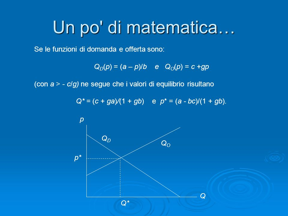 Un po di matematica… Se le funzioni di domanda e offerta sono: