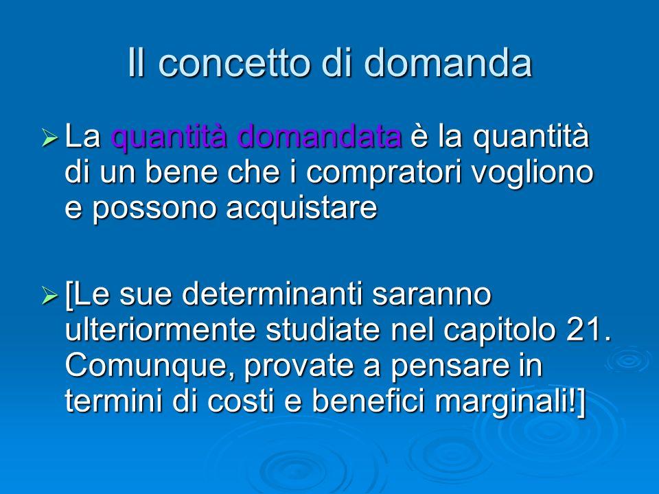 Il concetto di domanda La quantità domandata è la quantità di un bene che i compratori vogliono e possono acquistare.